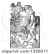Clipart Of A Black And White Woodcut Medieval Man Carrying A Basket In A Garden Royalty Free Vector Illustration