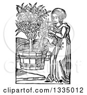 Clipart Of A Black And White Woodcut Medieval Woman Watering A Potted Tree Royalty Free Vector Illustration by Picsburg #COLLC1335012-0181