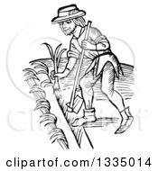 Black And White Woodcut Medieval Man Using A Hoe And Planting A Garden