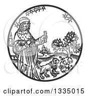 Clipart Of A Black And White Woodcut Medieval King Holding A Stick By A Lion In A Garden Royalty Free Vector Illustration