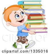 Clipart Of A Cartoon Red Haired White School Boy Smiling And Carrying A Stack Of Books Royalty Free Vector Illustration