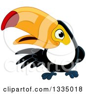 Cartoon Happy Toucan Bird Presenting To The Left
