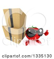Clipart Of A 3d Tomato Character Wearing Sunglasses Holding Up A Thumb And Boxes Royalty Free Illustration
