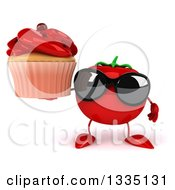 Clipart Of A 3d Tomato Character Wearing Sunglasses And Holding A Red Frosted Cupcake Royalty Free Illustration