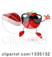 Clipart Of A 3d Tomato Character Wearing Sunglasses Jumping And Holding A Beef Steak Royalty Free Illustration
