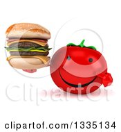 Clipart Of A 3d Happy Tomato Character Holding And Pointing To A Double Cheeseburger Royalty Free Illustration