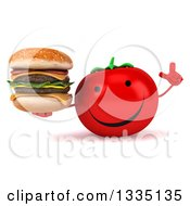 Clipart Of A 3d Happy Tomato Character Holding Up A Finger And A Double Cheeseburger Royalty Free Illustration