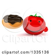 Clipart Of A 3d Happy Tomato Character Holding And Pointing To A Chocolate Glazed Donut Royalty Free Illustration