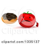 Clipart Of A 3d Unhappy Tomato Character Holding A Chocolate Glazed Donut Royalty Free Illustration