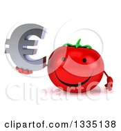 Clipart Of A 3d Happy Tomato Character Holding A Euro Currency Symbol Royalty Free Illustration