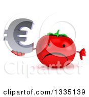 Clipart Of A 3d Unhappy Tomato Character Giving A Thumb Down And Holding A Euro Currency Symbol Royalty Free Illustration