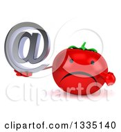 Clipart Of A 3d Unhappy Tomato Character Holding And Pointing To An Email Arobase At Symbol Royalty Free Illustration