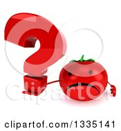 Clipart Of A 3d Unhappy Tomato Character Holding Up A Question Mark Royalty Free Illustration