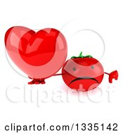 Clipart Of A 3d Unhappy Tomato Character Holding Up A Thumb Down And A Love Heart Royalty Free Illustration