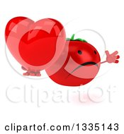 Clipart Of A 3d Unhappy Tomato Character Facing Slightly Right Jumping And Holding A Love Heart Royalty Free Illustration