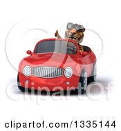 Clipart Of A 3d Tiger Wearing Sunglasses Giving A Thumb Up And Driving A Red Convertible Car Royalty Free Vector Illustration