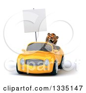 Clipart Of A 3d Tiger Roaring And Holding A Blank Sign And Driving A Yellow Convertible Car 2 Royalty Free Vector Illustration