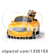 Clipart Of A 3d Tiger Roaring And Driving A Yellow Convertible Car Royalty Free Vector Illustration