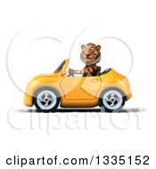 Clipart Of A 3d Tiger Driving A Yellow Convertible Car 3 Royalty Free Vector Illustration