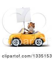Clipart Of A 3d Tiger Holding A Blank Sign And Driving A Yellow Convertible Car 2 Royalty Free Vector Illustration