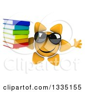 Clipart Of A 3d Happy Sun Character Wearing Shades Jumping And Holding A Stack Of Books Royalty Free Illustration