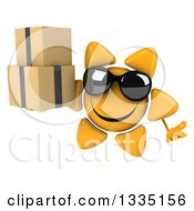 Clipart Of A 3d Happy Sun Character Wearing Sunglasses Shrugging And Holding Boxes Royalty Free Illustration
