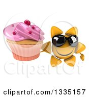 Clipart Of A 3d Happy Sun Character Wearing Sunglasses And Holding Up A Pink Frosted Cupcake Royalty Free Illustration
