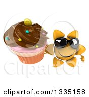 Clipart Of A 3d Happy Sun Character Wearing Shades And Holding Up A Chocolate Frosted Cupcake Royalty Free Illustration