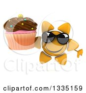 Clipart Of A 3d Happy Sun Character Wearing Shades Giving A Thumb Down And Holding A Chocolate Frosted Cupcake Royalty Free Illustration