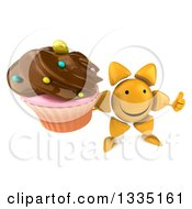 Clipart Of A 3d Happy Sun Character Holding Up A Thumb And A Chocolate Frosted Cupcake Royalty Free Illustration
