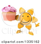Clipart Of A 3d Happy Sun Character Shrugging And Holding A Pink Frosted Cupcake Royalty Free Illustration