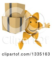 Clipart Of A 3d Happy Sun Character Facing Slightly Right Jumping And Holding Boxes Royalty Free Illustration