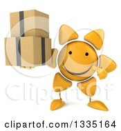 Clipart Of A 3d Happy Sun Character Holding And Pointing To Boxes Royalty Free Illustration