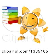 Clipart Of A 3d Happy Sun Character Shrugging And Holding A Stack Of Books Royalty Free Illustration