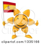 Clipart Of A 3d Happy Sun Character Giving A Thumb Up And Holding A Spanish Flag Royalty Free Illustration