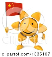 Clipart Of A 3d Happy Sun Character Holding A Chinese Flag Royalty Free Illustration