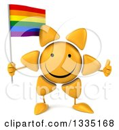 Clipart Of A 3d Happy Sun Character Giving A Thumb Up And Holding A Rainbow Flag Royalty Free Illustration