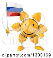 Clipart Of A 3d Happy Sun Character Holding And Pointing To A Russian Flag Royalty Free Illustration