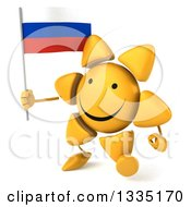 Clipart Of A 3d Happy Sun Character Walking Slightly Left And Holding A Russian Flag Royalty Free Illustration