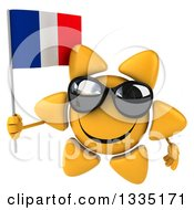 Clipart Of A 3d Happy Sun Character Wearing Shades And Holding A French Flag Royalty Free Illustration