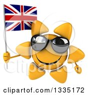 Clipart Of A 3d Happy Sun Character Wearing Shades And Holding A British Union Jack Flag Royalty Free Illustration