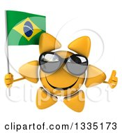 Clipart Of A 3d Happy Sun Character Wearing Shades Giving A Thumb Up And Holding A Brazilian Flag Royalty Free Illustration