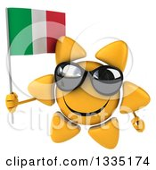 Clipart Of A 3d Happy Sun Character Wearing Shades And Holding An Italian Flag Royalty Free Illustration