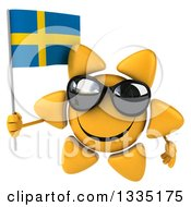 Clipart Of A 3d Happy Sun Character Wearing Shades And Holding A Swedish Flag Royalty Free Illustration