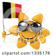 Clipart Of A 3d Happy Sun Character Wearing Shades Holding And Pointing To A Belgian Flag Royalty Free Illustration