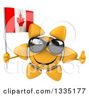 Clipart Of A 3d Happy Sun Character Wearing Shades Giving A Thumb Up And Holding A Canadian Flag Royalty Free Illustration