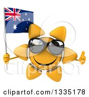 Clipart Of A 3d Happy Sun Character Wearing Shades Giving A Thumb Up And Holding An Australian Flag Royalty Free Illustration