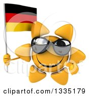 Clipart Of A 3d Happy Sun Character Wearing Shades Holding And Pointing To A German Flag Royalty Free Illustration