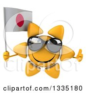 Clipart Of A 3d Happy Sun Character Wearing Shades Giving A Thumb Up And Holding A Japanese Flag Royalty Free Illustration