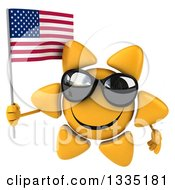 Clipart Of A 3d Happy Sun Character Wearing Shades And Holding An American Flag Royalty Free Illustration